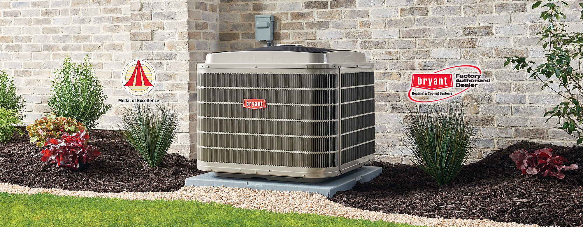 Bryant AC unit outdoors with medal of excellence logo